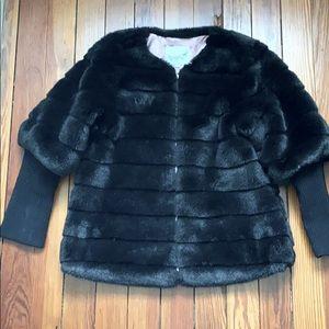 Magpie Faux Fur Black Jacket size 6